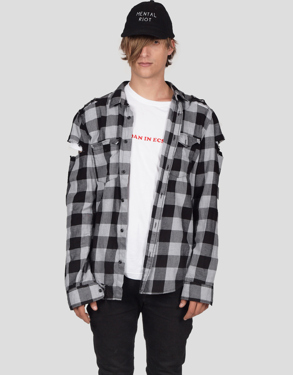 ERIS BLACK - GREY & BLACK DISTRESSED PLAID SHIRT