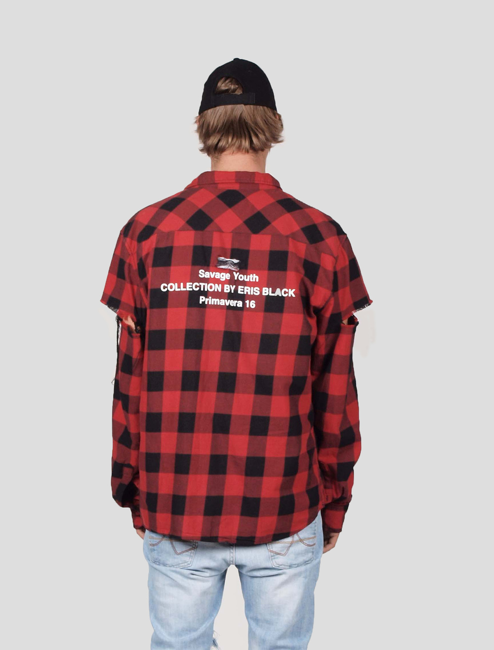 ERIS BLACK - RED & BLACK DISTRESSED PLAID SHIRT