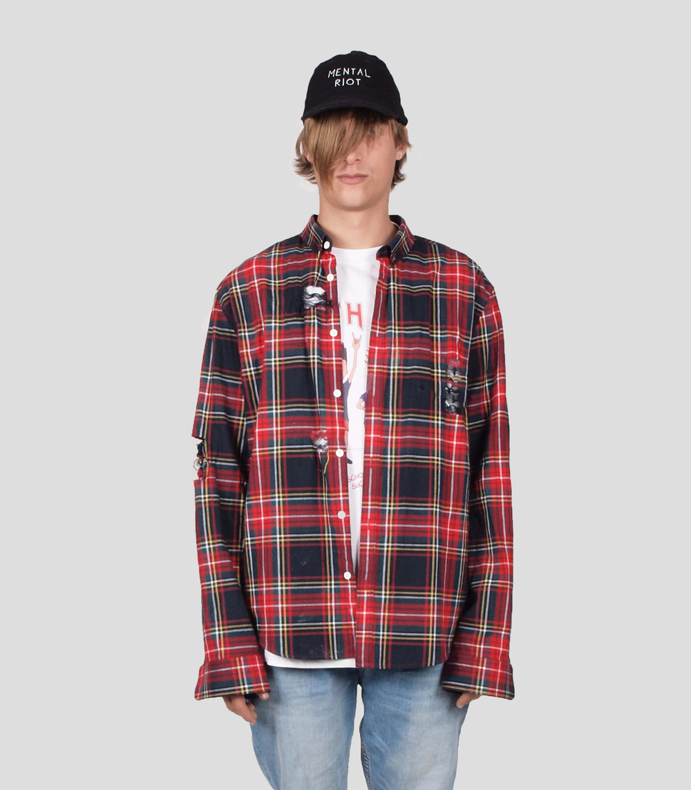 ERIS BLACK - MULTI COLORED DISTRESSED PLAID SHIRT