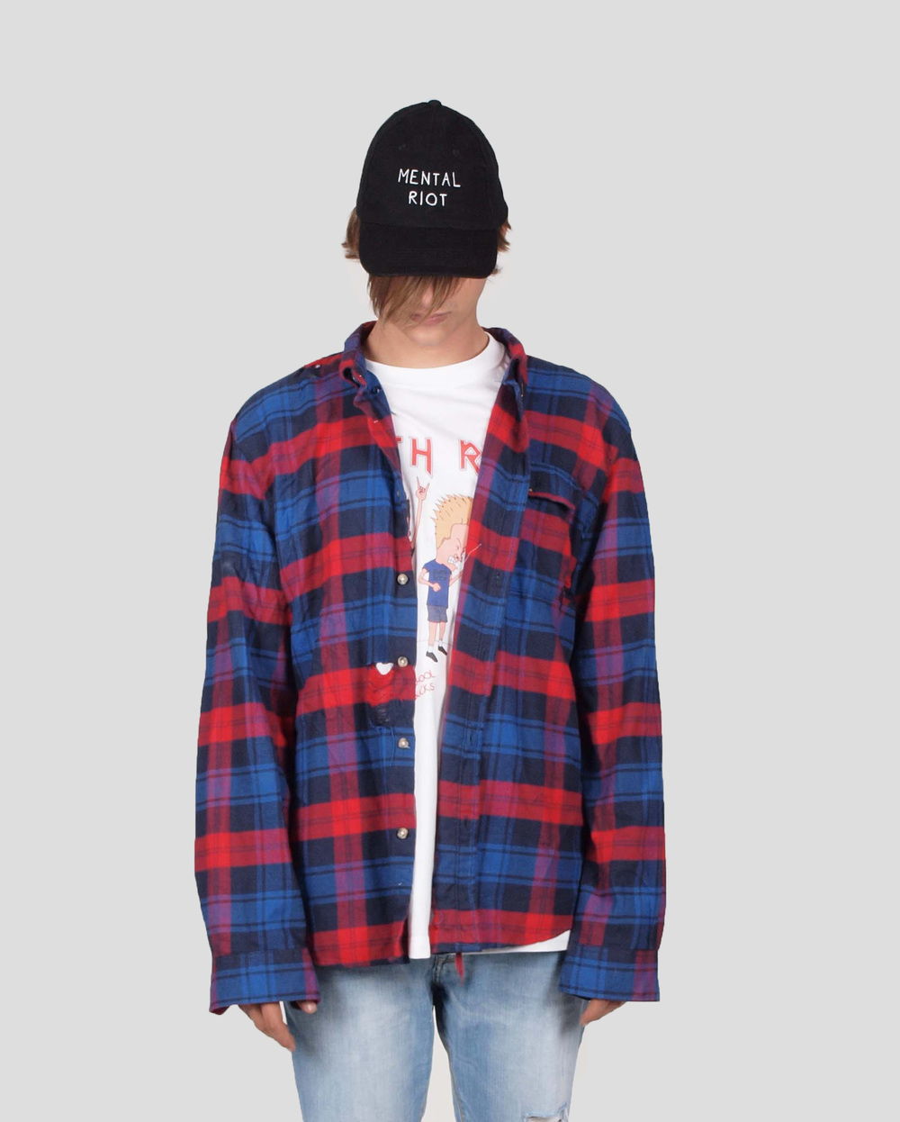 ERIS BLACK - RED & BLUE DISTRESSED PLAID SHIRT