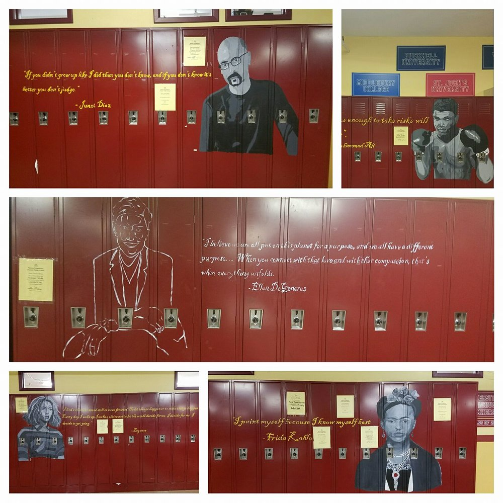 Students created murals featuring quotes from famous people bringing to life Boston Prep's five key virtues.