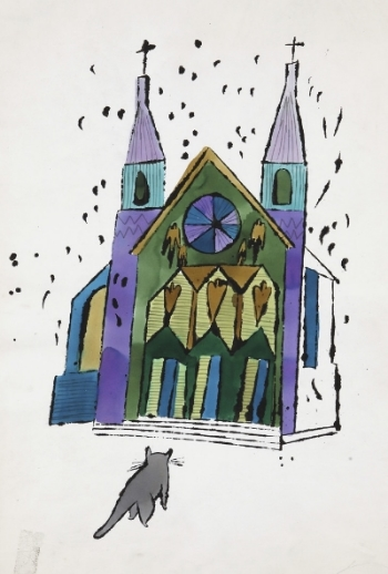 Cat in front of church, c. 1959