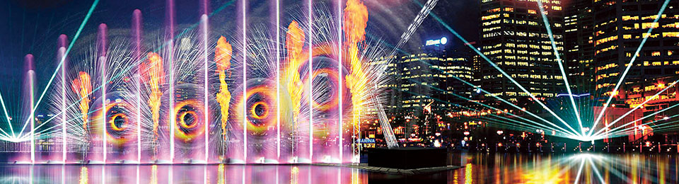 Laser-Dragon Water-Theatre - Artist: Oracle Liquid - Cockle Bay - Darling Harbour - Vivid Sydney 2016 - photo credit: Vivid Sydney Website 2016