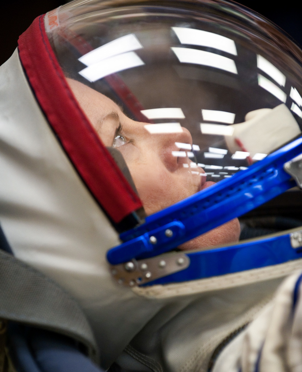 Expedition 23 NASA Flight Engineer Tracy Caldwell Dyson of the U.S. prepares to have her Russian Sokol suit pressure checked at the Baikonur Cosmodrome in Baikonur, Kazakhstan, Friday, April 2, 2010. Caldwell Dyson and fellow Expedition 23 crewmembers Soyuz Commander Alexander Skvortsov and Flight Engineer Mikhail Kornienko of Russia launched in their Soyuz TMA-18 rocket from the Baikonur Cosmodrome in Kazakhstan on Friday, April 2, 2010. (NASA/Carla Cioffi)
