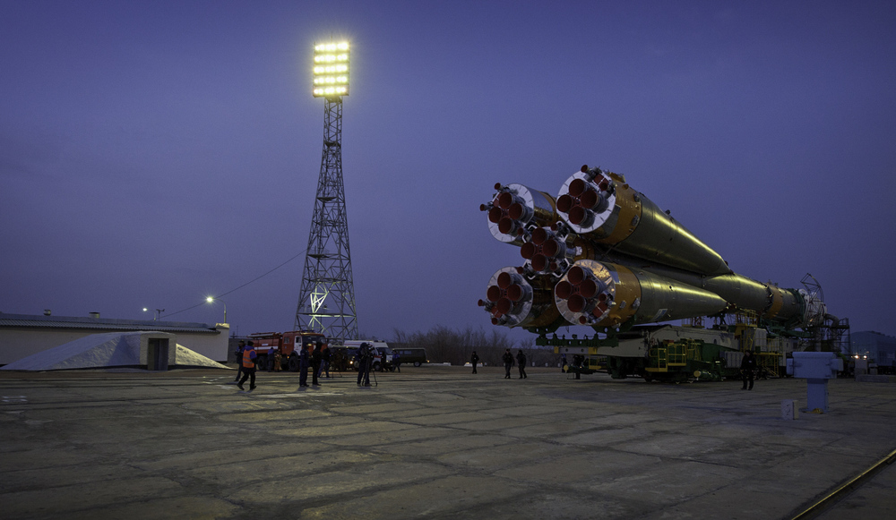 The Soyuz TMA-20 spacecraft is seen as it arrives at the launch pad Monday, Dec. 13, 2010 at the Baikonur Cosmodrome in Kazakhstan. The Soyuz is scheduled to launch the crew of Expedition 26 on Thursday, Dec. 16, 2010. (NASA/Carla Cioffi)