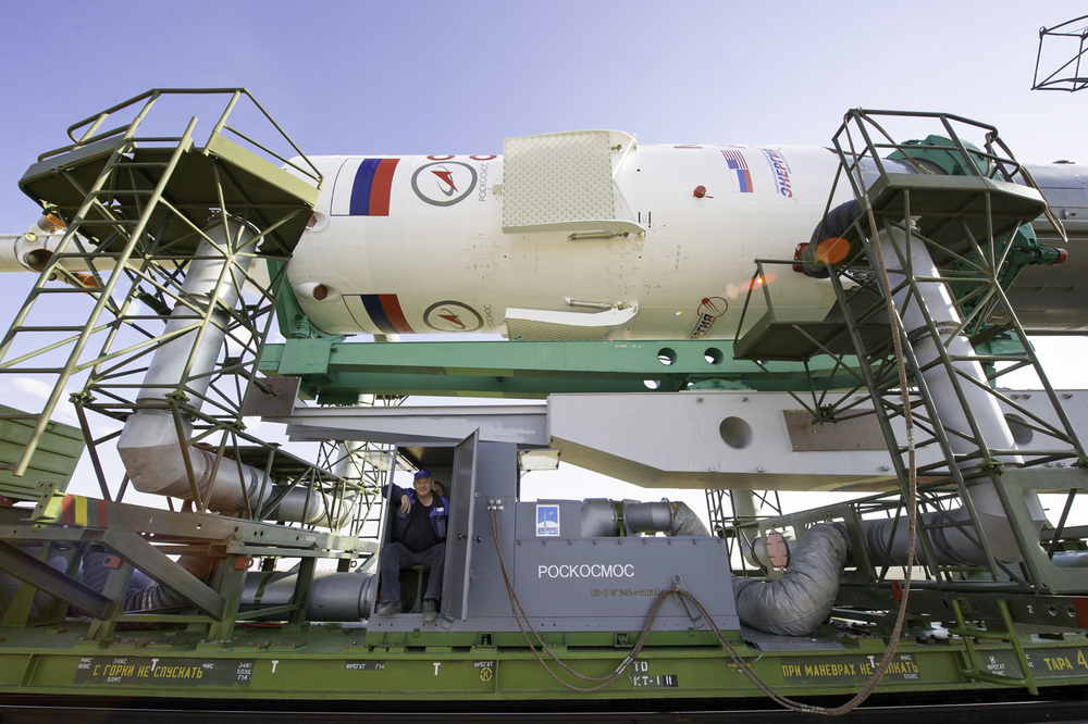 The upper stage of the Soyuz TMA-02M rocket in which the crew capsule is located is pictured here during the rollout of the rocket on Sunday, June 5, 2011 at the Baikonur Cosmodrome in Kazakhstan. (NASA/Carla Cioffi)