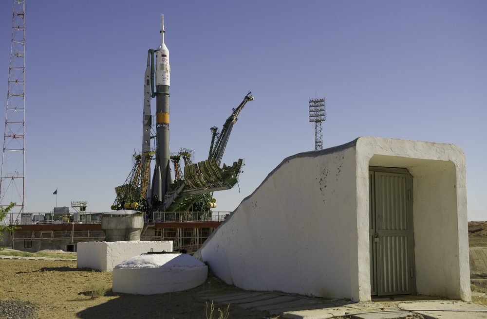 The Soyuz TMA-05M spacecraft is positioned near a bunker at the launch pad following its rollout, Thursday, July 12, 2012 at the Baikonur Cosmodrome in Kazakhstan. The launch of the Soyuz rocket is scheduled for the morning of July 15 local time. (NASA/Carla Cioffi)