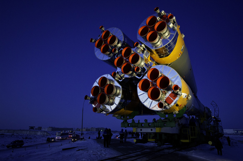 The Soyuz TMA-03M spacecraft is rolled out by train on its way to the launch pad at the Baikonur Cosmodrome, Kazakhstan, Monday, Dec. 19, 2011. The launch of the Soyuz spacecraft with Expedition 30 Soyuz Commander Oleg Kononenko of Russia, NASA Flight Engineer Don Pettit and ESA (European Space Agency) astronaut and Flight Engineer Andre Kuipers is scheduled for 7:16 p.m. local time on Wednesday, December 21. (NASA/Carla Cioffi)