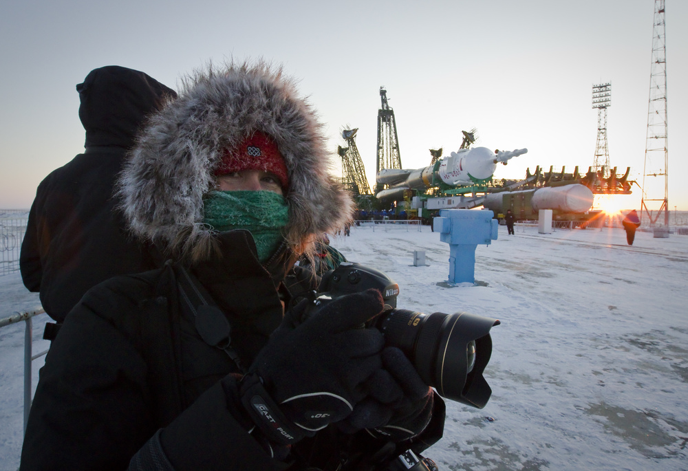 -40 ºC (-40 ºF) At the Baikonur Cosmodrome with the Russian Soyuz rocket in background in Baikonur, Kazakhstan. Intense working conditions, but fun!