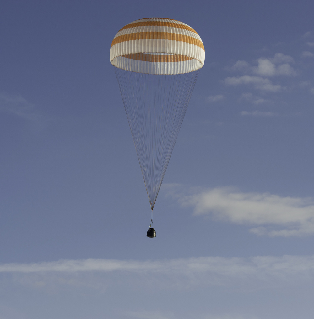 The Soyuz TMA-04M spacecraft is seen as it lands with Expedition 32 Commander Gennady Padalka of Russia, NASA Flight Engineer Joe Acaba and Russian Flight Engineer Sergei Revin in a remote area near the town of Arkalyk, Kazakhstan, on Monday, September 17, 2012. Padalka, Acaba and Revin returned from five months onboard the International Space Station where they served as members of the Expedition 31 and 32 crews. (NASA/Carla Cioffi)