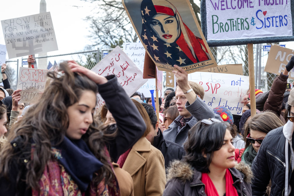 "A crowd is seen at the first Anti Immigration Ban rally in front of the White House on Saturday, January 29, 2017 in Washington, DC. Thousands gathered to protest Trump's executive order banning immigration by refugees and foreign nationals from seven predominantly Muslim countries into the United States. Demonstrators marched from the White House to the U.S. Capitol chanting ""Say it loud, say it clear, refugees are welcome here!"""