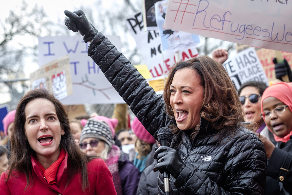 "U.S. Senator Kamala Harris (D-CA), right, speaks at the first Anti Immigration Ban rally in front of the White House in Washington, D.C. on Sunday, January 29, 2017. Thousands rallied in protest against Trump's executive order banning immigration by refugees and foreign nationals from seven mainly Muslim countries into the United States. Thousands demonstrated and marched from the White House to the U.S. Capitol chanting ""No hate, no fear, refugees are welcome here!"""