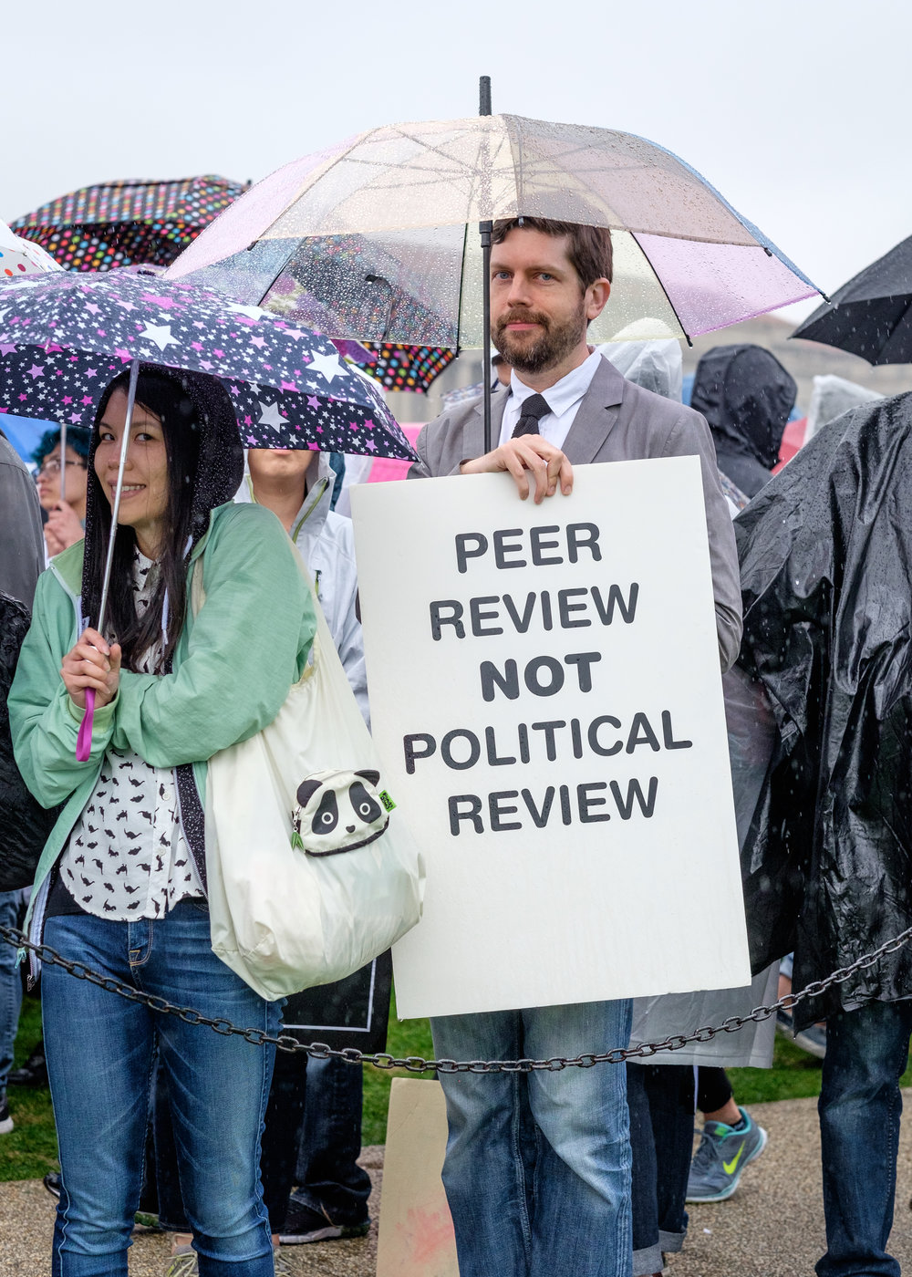 "Mike Myers of Arlington, VA is seen at the March for Science on the National Mall on Earth Day, Saturday, April 22, 2017 in Washington, DC. He attended the march ""to support non-partisan research and to keep politics out of the process of discovery."" Mike has worked in government funded research, most recently with DARPA on the engineering side. He joins thousands who have gathered in the nation's capital with scientists and science supporters across the world who are participating in the first-ever global march for science. More than 600 locations world-wide held March for Science events."