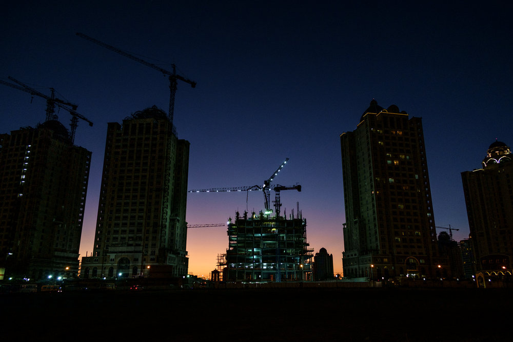 Construction of a residential tower at the Viva Bahriya development on The Pearl is seen in the evening. The Pearl is an artificial island comprising of luxury residential estates and businesses. It is the first land in Qatar made available for ownership by foreign nationals.
