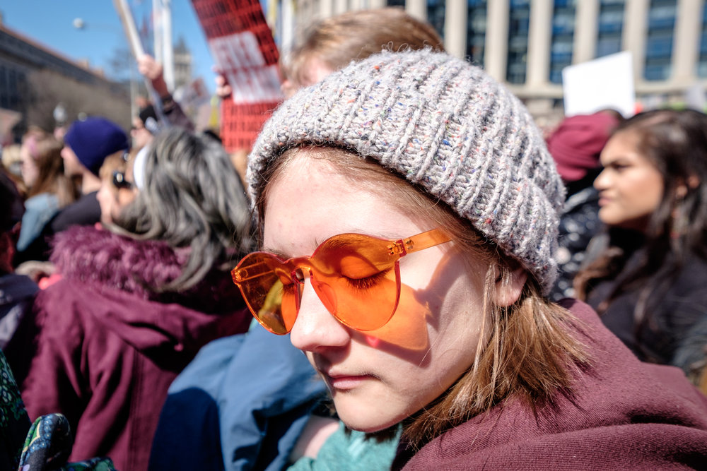 "Josie Kunkle-Schoen, 15, from Madison, WI, attended the March for Our Lives Rally on Saturday, March 24, 2018 in Washington, DC. ""I'm here because I think that… it's really scary, honestly… having dreams about having your school shot up and stuff is really scary and things are so accessible and it needs to be changed. There needs to be change."""