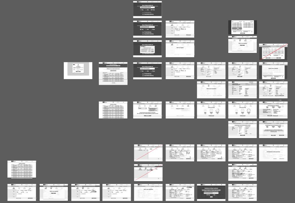Wireframes für use-case-basierte click flows stellten den Ausgangspunkt der Konzeption dar