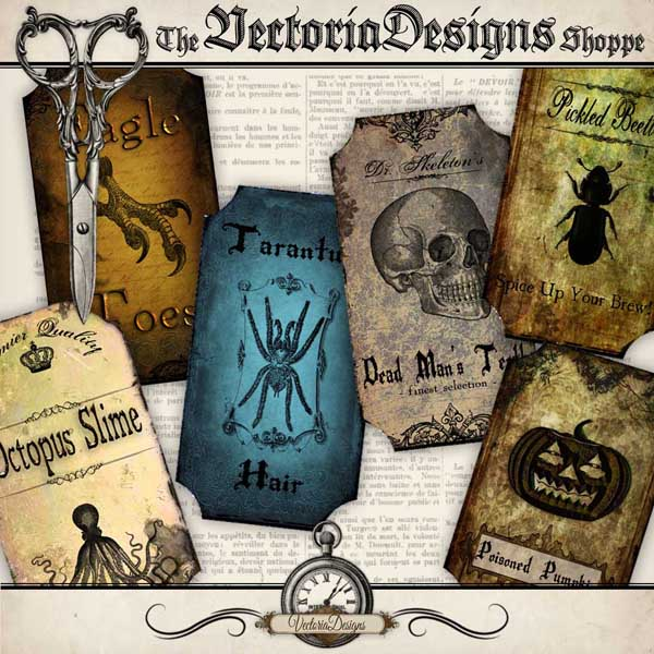 Halloween Bottle Labels - 12 labels