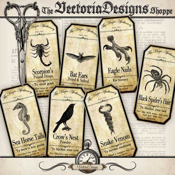 Magic Animals Apothecary Labels - 15 labels
