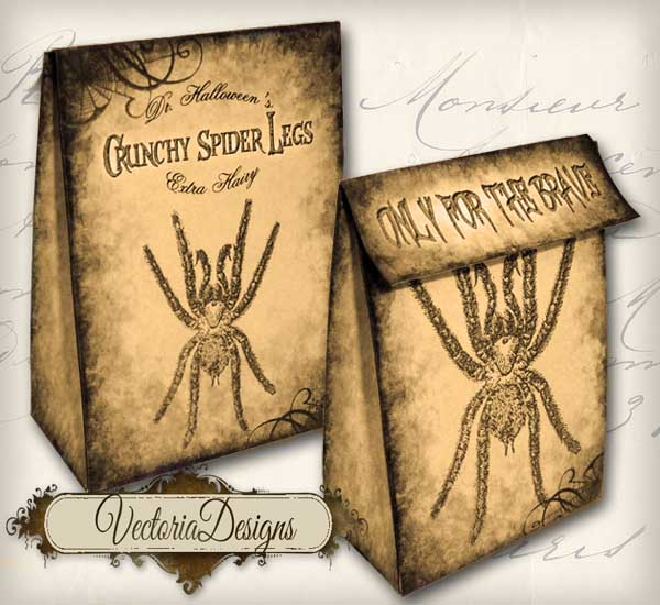 """Spider"" Favor Bag Sepia"
