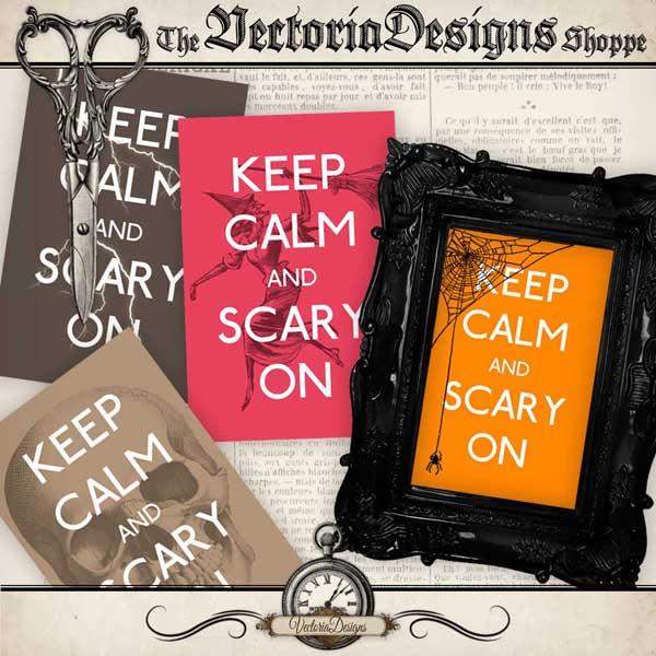 """Halloween """"Keep Calm"""" cards - 4 cards"""