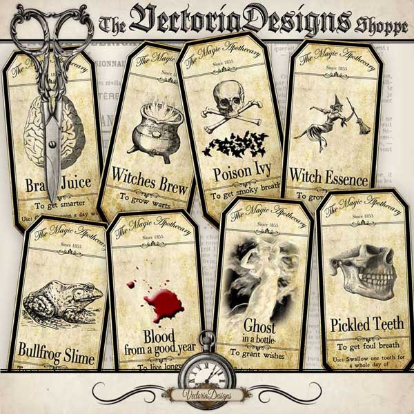 Large Halloween Apothecary Labels - 15 labels
