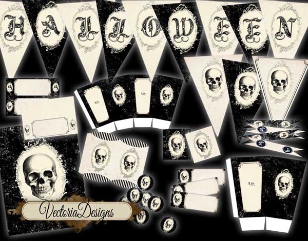 Halloween Party Pack: banner, labels, boxes, flags etc.
