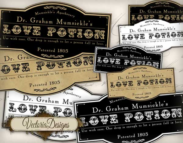 Love Potion Labels - 4 different labels