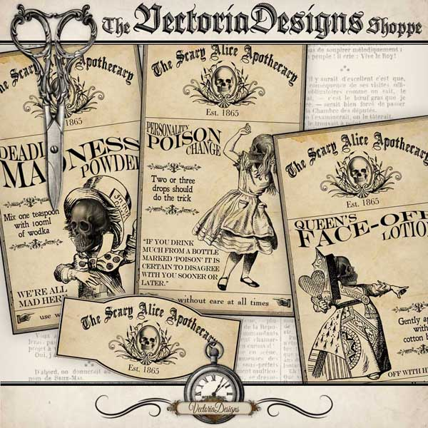 Scary Alice in Wonderland Labels - 4 labels