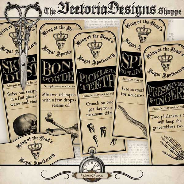 Halloween Apothecary Labels - 6 labels