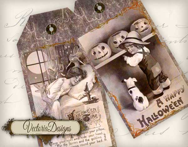 Vintage Halloween Tags - 6 tags