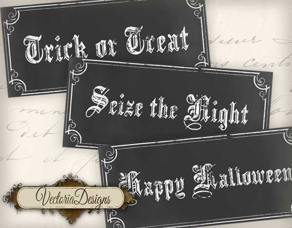 Halloween Chalkboard Labels - 7 labels