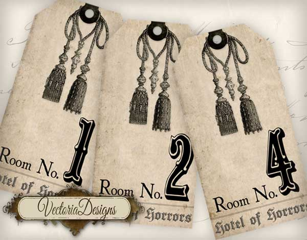 """Hotel of Horrors"" Room Key Tags - 6 tags"