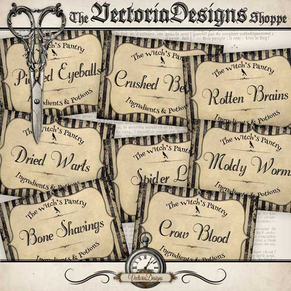 The Witch's Pantry Labels - 8 labels