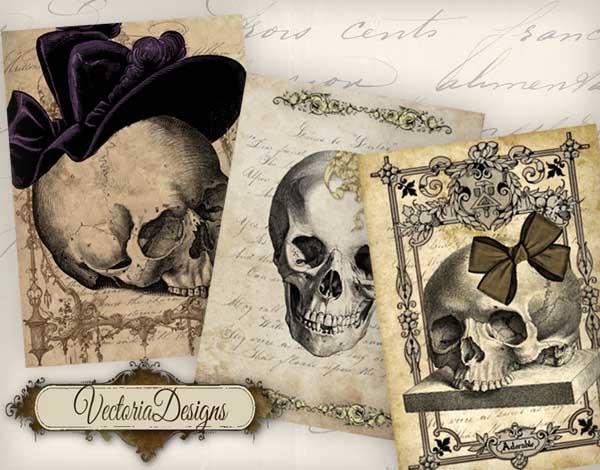 Adorable Skulls ATC Images
