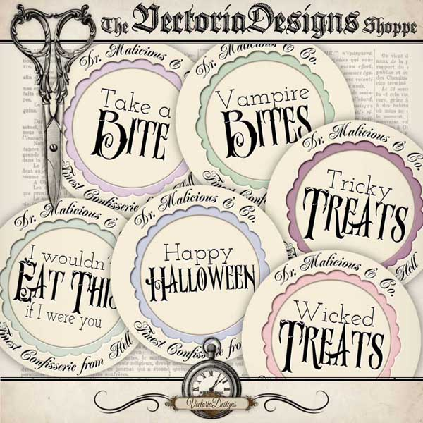 Halloween Round Candy Labels