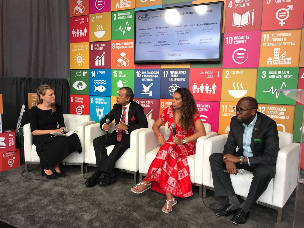 Check out the full video of our SDG Media Zone panel on Connect4Impact  HERE    Speakers:  Ms. Myriam Sidibe, (Unilever Africa Social Mission Lead), Mr. Githinji Gitahi, (Global Director, Amref Flying Doctors), Mr. Siddharth Chatterjee, (UN Resident Coordinator for Kenya, UNDP)  Moderator:  Ms. Carolien de Bruin, (CEO and Founder, C-Change)