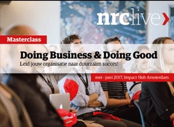 NRC Masterclass: Doing Business & Doing Good 9 – 16 May 2017, Amsterdam, the Netherlands On the first day of this four-day masterclass, Carolien de Bruin, founder and CEO of C-Change, will provide a workshop on incorporating the SDGs and enriching strategic goals into the core processes of an organization.