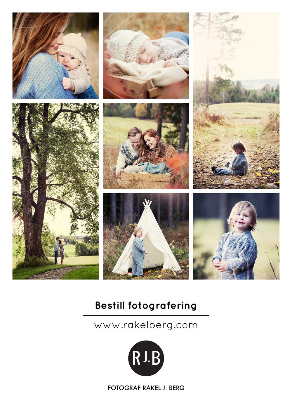 """Fotografering i studio, på lokasjon eller hjemme hos dere selv: 1.500,- Dette gjelder familie, søsken, barn, konfirmant eller for deg som ønsker portretter. Jeg setter av ca. 1 time til fotografering. 1 bilde i høy kvalitet er inkludert.    Digitale filer:  Bildet/bildene leveres digitalt i høy oppløsning, uten logo og kan printes selv. Ved publisering skal """"Foto: Rakel J. Berg"""" benyttes. Disse er behandlet på lys, farge og retusj etter ønske. Ønsker du forstørrelser, album eller takkekort så er dette mulig å bestille.    1 digital fil 800,-  5 digitale filer 3.000,-  10 digitale filer 5.000,-  20 digitale filer 7.000,-  40 digitale filer 8.000,-  Alle digitale filer 10.000,-"""