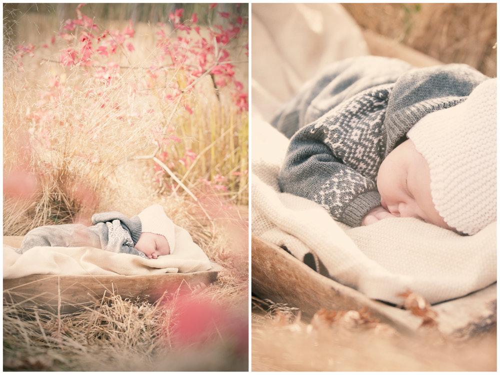 Nyfødtfotografering utendørs i fint høstvær med 10 dager gamle Eliah :)