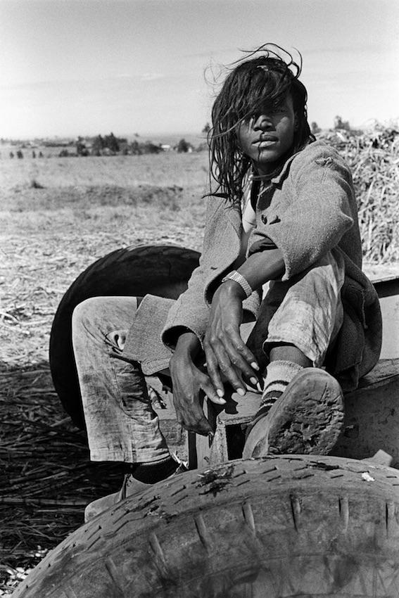 Tractor driver on a sugar farm, Mangete, KwaZulu-Natal, 1986