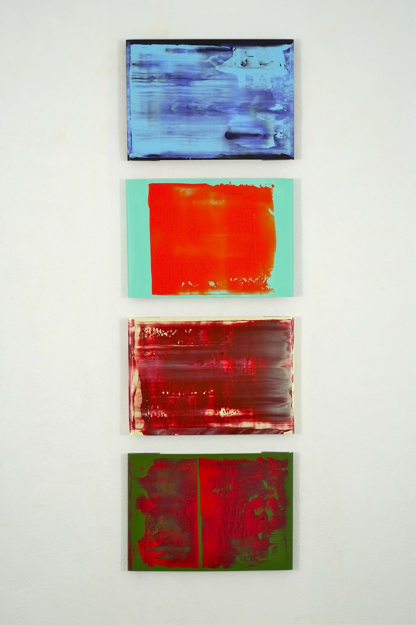Pedro Calapez, Barreira F, 2012, Acryl auf Aluminium, 4-tlg., 70 x 230 x 5 cm, courtesy of Galerie Seippel Köln.jpg
