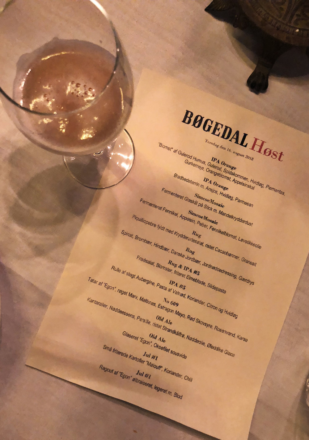 The menu at HØST Bøgedal 2018