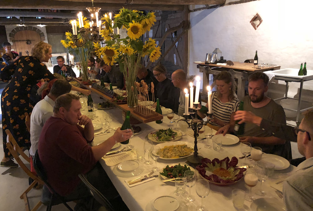Our barn create a beautiful room for dinning.