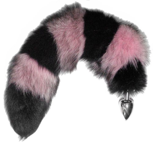 "20""-25"" pink-and-black striped fox tail with silicone, ace, or"
