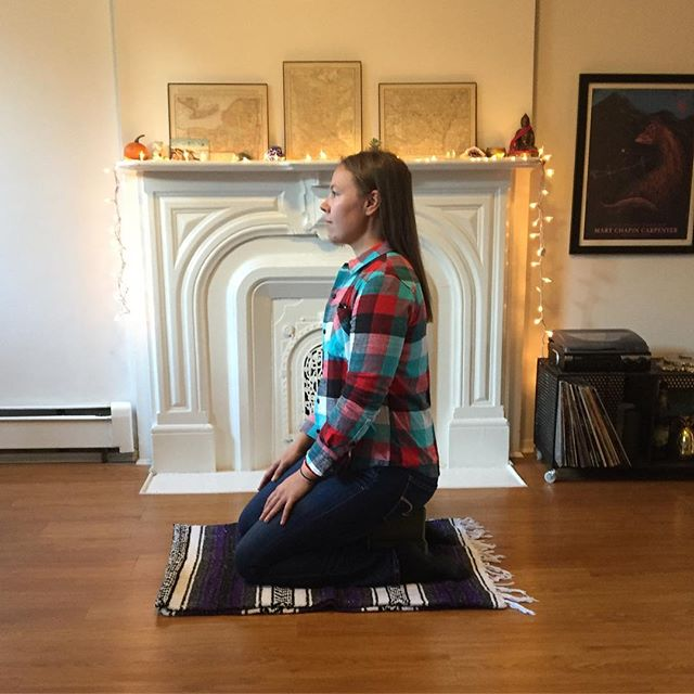 Some people asked me about meditation seats -- do I have to sit in lotus posture to meditate?? -- nope! This is my fave seat kneeling on two blocks, but you could also sit in a chair or lie down. Choose what is most comfy while remaining alert!