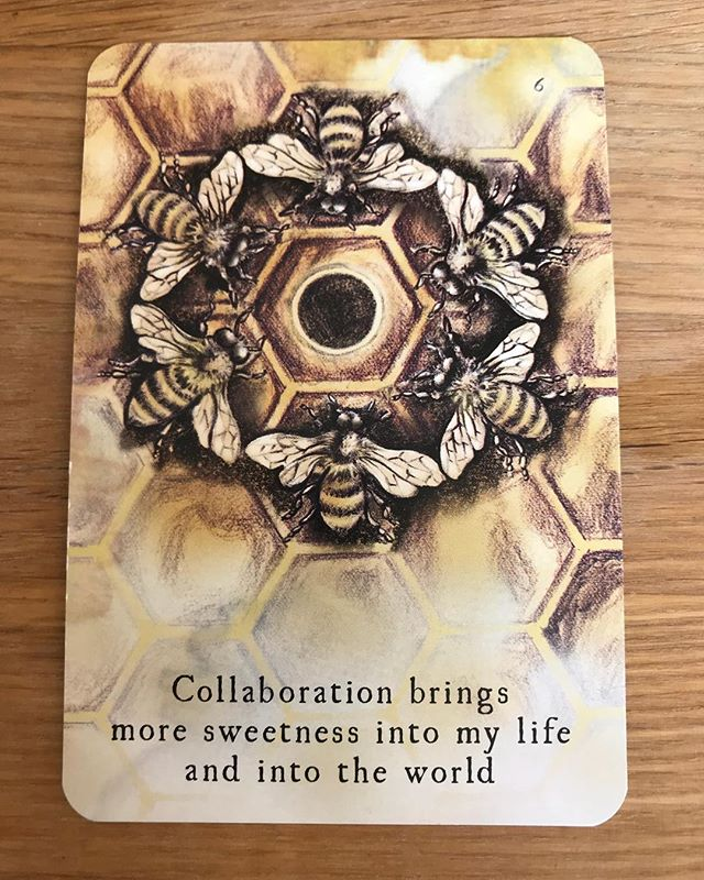 sunday study // contemplating this @the_moondeck card while planning my next workshop — Compassion for Colleagues + Collaborators 🌙💛🌼🐝