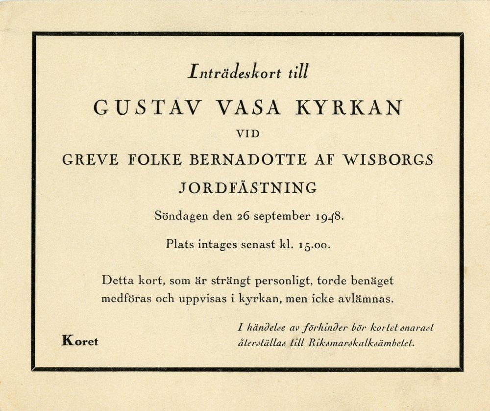 Gösta Lundin deltog vid jordfästningen av Folke Bernadotte i Gustav Vasa kyrkan den 26 september 1948. Ur Gösta Lundins arkiv