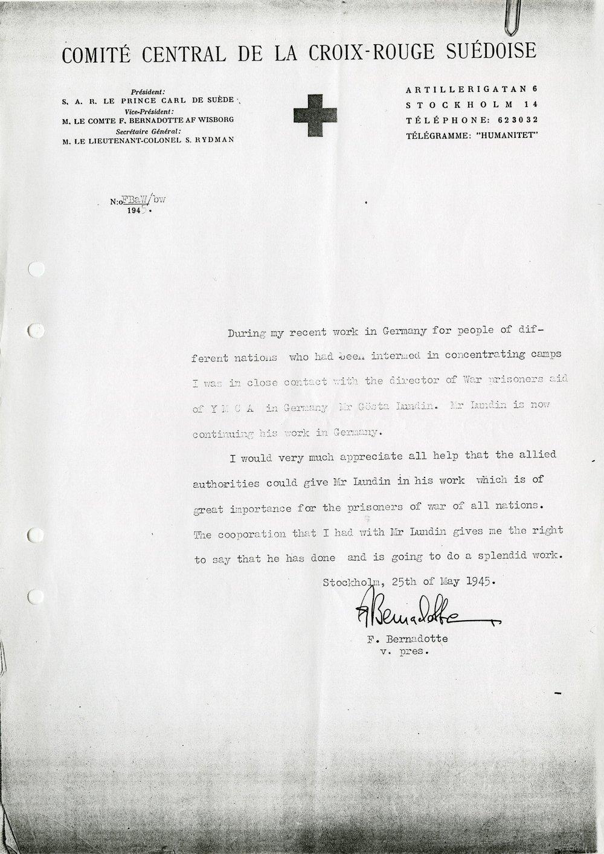 Greve Folke Bernadottes skrivelse rörande Gösta Lundins lämplighet. Ur Gösta Lundins arkiv