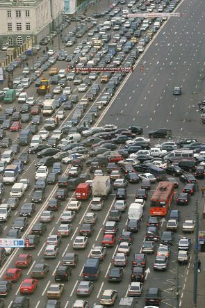 Traffic jam in Moscow city