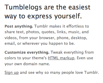 Tumblr´s home page